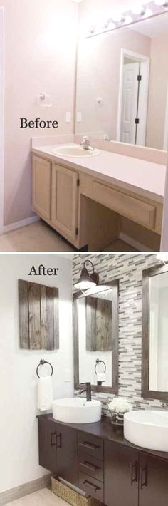 37 Small Bathroom Makeovers Looking to remodel and show off your bathroom? Here are 37 small bathroom makeovers to give your bathroom the attention it deserves. Diy Bathroom Remodel, Bathroom Renovations, Home Renovation, Home Remodeling, Bathroom Makeovers, Paint Bathroom, Shower Remodel, Bathroom Ideas, Budget Bathroom