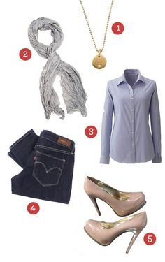 Shirt by Uniqlo  Classic demi curve mid rise by Levi  Nude plateforms by Simply Vera Wang