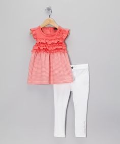 Take a look at this Coral Stripe Ruffle Dress & Leggings - Infant & Toddler by Calvin Klein on #zulily today!