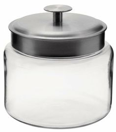 Anchor Hocking Montana Storage Jar, Glass, 64-Ounce by Fox Run Craftsmen. $11.42. Perfect addition to any kitchen. Great gift idea. Mini clear glass storage jar. Use in kitchen, bathroom or bedroom. 64-ounce capacity. Clear glass storage jar from Anchor Hocking - 64-ounce capacity. Brushed aluminum metal lid. On the table, in the kitchen, and around the home, Anchor Hocking offers a wide variety of high quality consumer glassware products that are both beautiful...