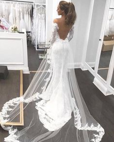Open Back Mermaid Fashion Tailored wedding dress with long sleeves - Brautkleid a linie - Wedding dresses Tailored Wedding Dress, Wedding Dress Sleeves, Long Sleeve Wedding, Dream Wedding Dresses, Bridal Dresses, Wedding Gowns, Lace Wedding, Bridesmaid Dresses, Wedding Venues