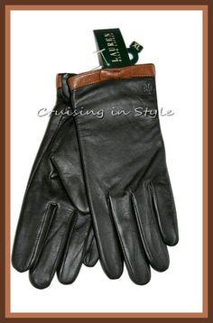 Ralph Lauren Gloves NWT Winter Gloves Brown Bow Leather Ladies sz XL New  #RalphLauren #EverydayGloves