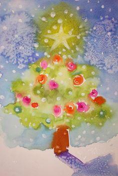 Christmas art. One of my little watercolor cards (Art by Jordan Swain)