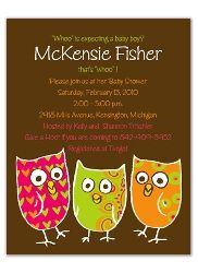 4039  Baby Shower Invitations Three Owls Theme