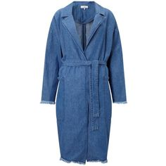 Minimum Majbrit Long Denim Jacket, Dark Blue (2 705 UAH) ❤ liked on Polyvore featuring outerwear, jackets, pattern jacket, denim jacket, long jean jacket, long sleeve jean jacket and blue jean jacket