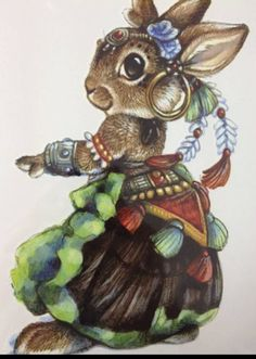 Super cute TRIBAL BELLYDANCER rabbit temporary by almasjewelryart