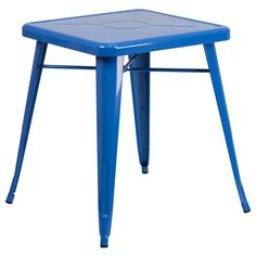 23.75'' Square Blue Metal Indoor-Outdoor Table. Create a chic dining space with this industrial style table. The colorful table will add a retro-modern look to your home or eatery. This highly versatile Cafe Table is ideal for use in bistros, taverns, bars and restaurants. You can mix and match this style table with any metal chair, even using different colors. The top features an engraved designer print. A cross brace underneath the top adds extra stability. The legs have protective…