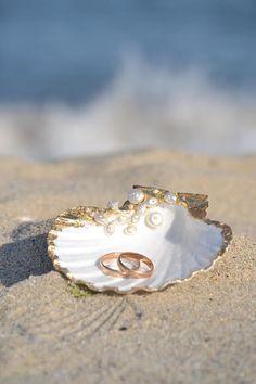 Sea Shell Ring Bearer Wedding Ring Holder Bowl Dish Ring Pillow