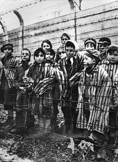 Imprisoned:Children behind a barbed wire fence at the Nazi concentration camp at Auschwit...