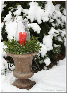 Outdoor Christmas decorating ideas using urns and planters. | In My Own Style