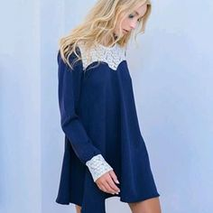 "Flare it.Twirl it.The Withc head Nebula"" fit & flare dress. Fit Flare Dress, Fit And Flare, Navy Uniforms, Embroidered Lace, Blue Lace, Blue Dresses, Style Me, Feminine, Elegant"