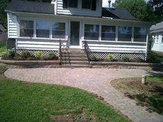 Backyard patio with walkway