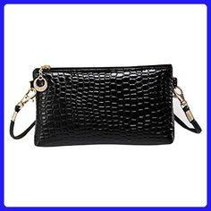 Egmy® 2016 Women Crocodile Leather Messenger Crossbody Clutch Shoulder Bag Handbag (Black) - Shoulder bags (*Amazon Partner-Link)