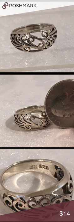 Sterling Silver 925 Open Work Band Ring Cute! Sterling Silver 925 Filigree/ Open Work Done Ring , size - 6.5, stamped- 925 Jewelry Rings