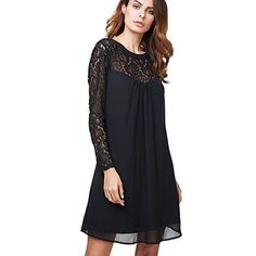 Women's Casual Dresses - vanberfia Womens Long Sleeve Lace Patchwork Loose Casual Mini Chiffon Dress * Check out this great product.