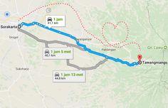 Map menuju River Hill Tawangmangu start dari Solo Jawa Tengah Indonesia
