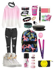 Pink is the new Black by goldnpurplegun66 on Polyvore featuring polyvore fashion style Glamorous BUSCEMI Cartier Urban Outfitters Eugenia Kim River Island BaByliss Static Nails Claire Gaudion Fountain clothing
