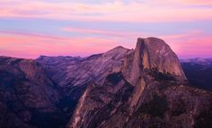 """Half Dome at sunset from Glacier Point in Yosemite National Park."""