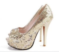 golden elegant paillette high-heeled shoes