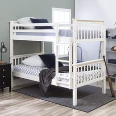 7b1a8059b7c Manor Park Solid Wood Twin over Twin Mission Design Bunk Bed - White