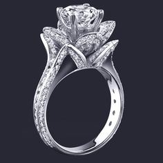 Engagement Ring - Lotus Diamond Engagement Ring In 14K White Gold