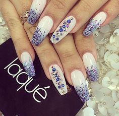 Sand nails with blue glitter