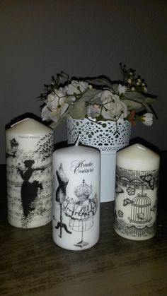 candles  decoupage love