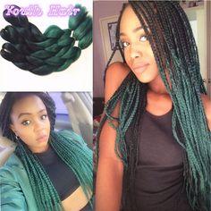 Jumbo Braids Hair Extensions & Wigs Qp Hair Green Ombre Kanekalon Braiding Hair 24 Inch Jumbo Braids Black Green Braid Synthetic Extensions Crochet Twist Hair 10pcs