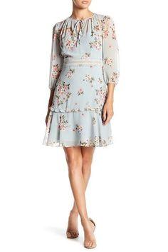 4cb4d219b0ef Donna Morgan 3 4 Length Sleeve Floral Print Chiffon Dress Print Chiffon