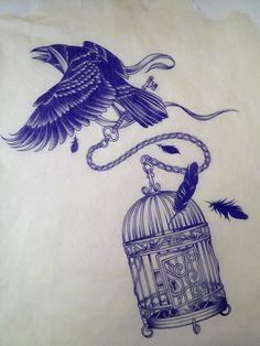 Crow with birdcage. Tattoo idea.