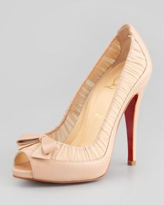 Christian Louboutin Angelique Chiffon & Leather Red-Sole Pumps in Nude Peep Toe Pumps, Pumps Heels, High Heels, Stilettos, Nude Shoes, Hot Shoes, Joe's Shoes, Bow Heels, Red Sole