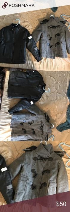 Leather jacket and pea coat jacket Like new jackets. One is a black leather extremely chic and stylish and the other is a sophisticated gray jacket! Jackets & Coats Pea Coats