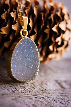 Druzy Necklace Druzy jewelry Drusy Necklace Gold by AmeyaaJewelry