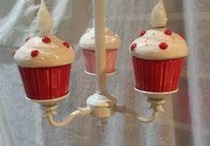 Valentine Red Cupcake Chandelier Home Decor Kitchen Light Nursery decor by Angelheartdesigns on Etsy https://www.etsy.com/listing/175873004/valentine-red-cupcake-chandelier-home