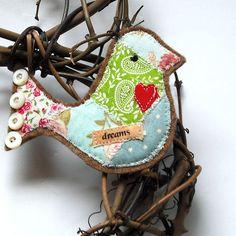 Patchwork bird ornament