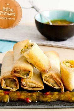 Rollitos de primavera Hcg Diet Recipes, Veggie Recipes, Asian Recipes, Mexican Food Recipes, Raw Food Recipes, Vegetarian Recipes, Cooking Recipes, Healthy Recipes, Samosas