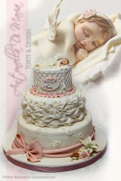 Christmas Christening cake with angel and billowing - Cake by Antonella Di Maria