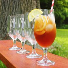 Personalized Stemmed Goblets (Set of 4). Fill up with iced tea, lemonade or even a beer, these glasses are a tasteful complement to so many cold drinks.