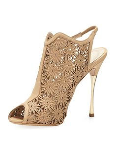 Laser-Cut Leather Sandal, Beige.