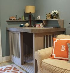 this diy dog crate furniture piece will transform your living room 35 ~ Home Design Ideas Dog Crate Furniture, Decor, Indoor Decor, Home, Crate Furniture, Furniture, Corner Dog Bed, Dog House Diy