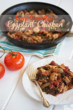 One Pan Eggplant Chicken~ 1 medium-sized eggplant, cubed 1 onion, sliced 2 garlic cloves, crushed 1 tbsp extra-virgin olive oil 3 cups fresh organic spinach 1 lb. Paleo Recipes, Low Carb Recipes, Real Food Recipes, Chicken Recipes, Cooking Recipes, Paleo Eggplant Recipes, Food For Thought, Think Food, I Love Food