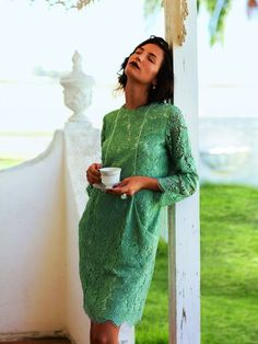 Burda pattern. Three-quarter sleeve lace dress. Love the piecing construction for the pockets.