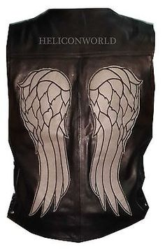 The Walking Dead Governor Daryl Dixon Angel Wing Leather Vest Jacket Halloween in Clothing, Shoes & Accessories | eBay