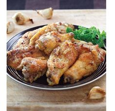 Baked Garlic Wings Recipe courtesy George Stella / StellaStyle.com  Prep Time 10 min / Cook Time 60 min / Serves 12  Shopping List 4 pounds jumbo fresh chicken wings (bigger the better!) 2 tablespoons olive oil 2 1⁄2 tablespoons minced garlic 1 teaspoon garlic powder 1 teaspoon salt 1⁄2 teaspoon black pepper 1⁄4 cup grated Parmesan cheese  1. Place oven rack in the center position and preheat to 375 degrees.   2. In a large bowl, combine the chicken wings, olive oil, minced garlic, garlic…