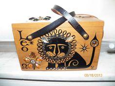 "Vintage Enid Collins of Texas ""Leo"" the Lion Zodiac Box wood gem Purse Handbag #EnidCoillinsCollinsofTexas #Box"