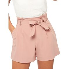 Miss Selfridge Pleated Tie-Front Zipped Shorts ($59) ❤ liked on Polyvore featuring shorts, pink, zipper shorts, tie-dye shorts, side zip shorts, miss selfridge and pleated shorts