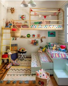 Playroom Design: Do It Yourself Playroom with Rock Wall Surface. 30 Incredible Kids Playroom Ideas - Home Decor Kids Bedroom Designs, Playroom Design, Kids Room Design, Playroom Ideas, Kids Bedroom Ideas, Kids Playroom Storage, Children Playroom, Small Playroom, Colorful Playroom