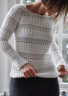 KUFER z artystycznym rękodziełem Pull Crochet, Gilet Crochet, Crochet Jumper, Black Crochet Dress, Crochet Skirts, Crochet Cardigan Pattern, Crochet Jacket, Crochet Blouse, Crochet Shawl