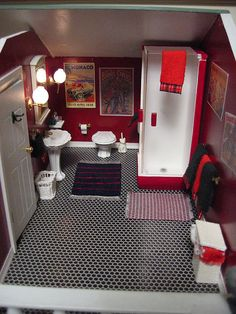 This is a doll houses' bathroom, is it weird that i would love this for an actual bathroom? Its creative & fun!