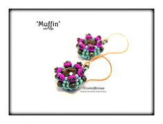 Bead pattern 'Muffin' earrings beaded bead with by CrownofStones